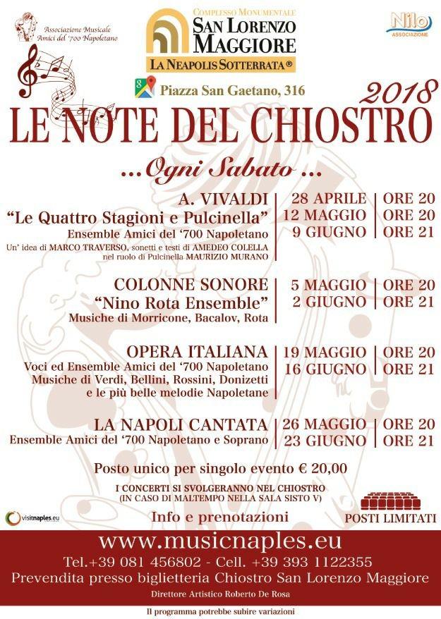 """""""Le Note del Chiostro"""" dal 28 aprile al 23 giugno. Complesso Monumentale San Lorenzo Maggiore"""