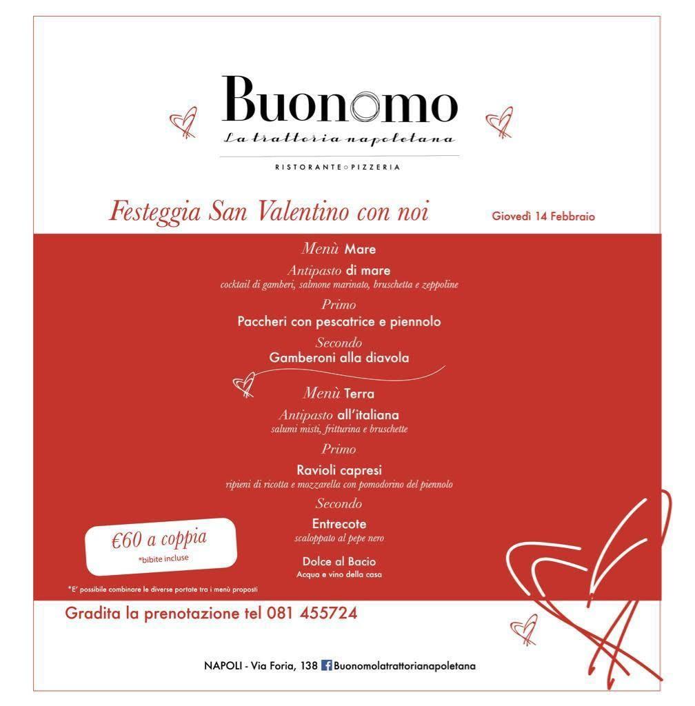 Trattoria Buonomo - Menu di San Valentino