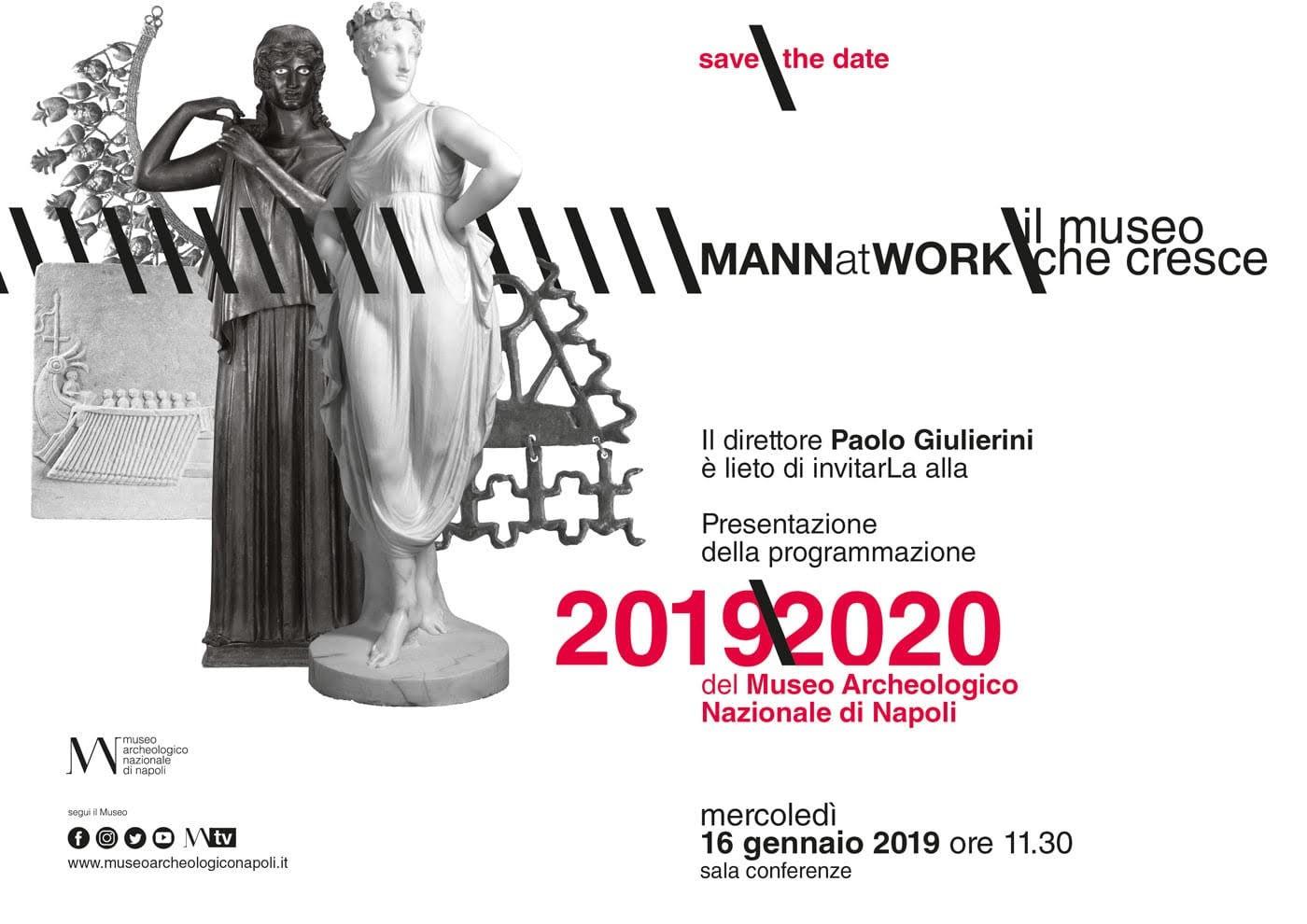 Mercoledì 16 gennaio (ore 11.30) presentazione della programmazione 2019/2020 del MANN