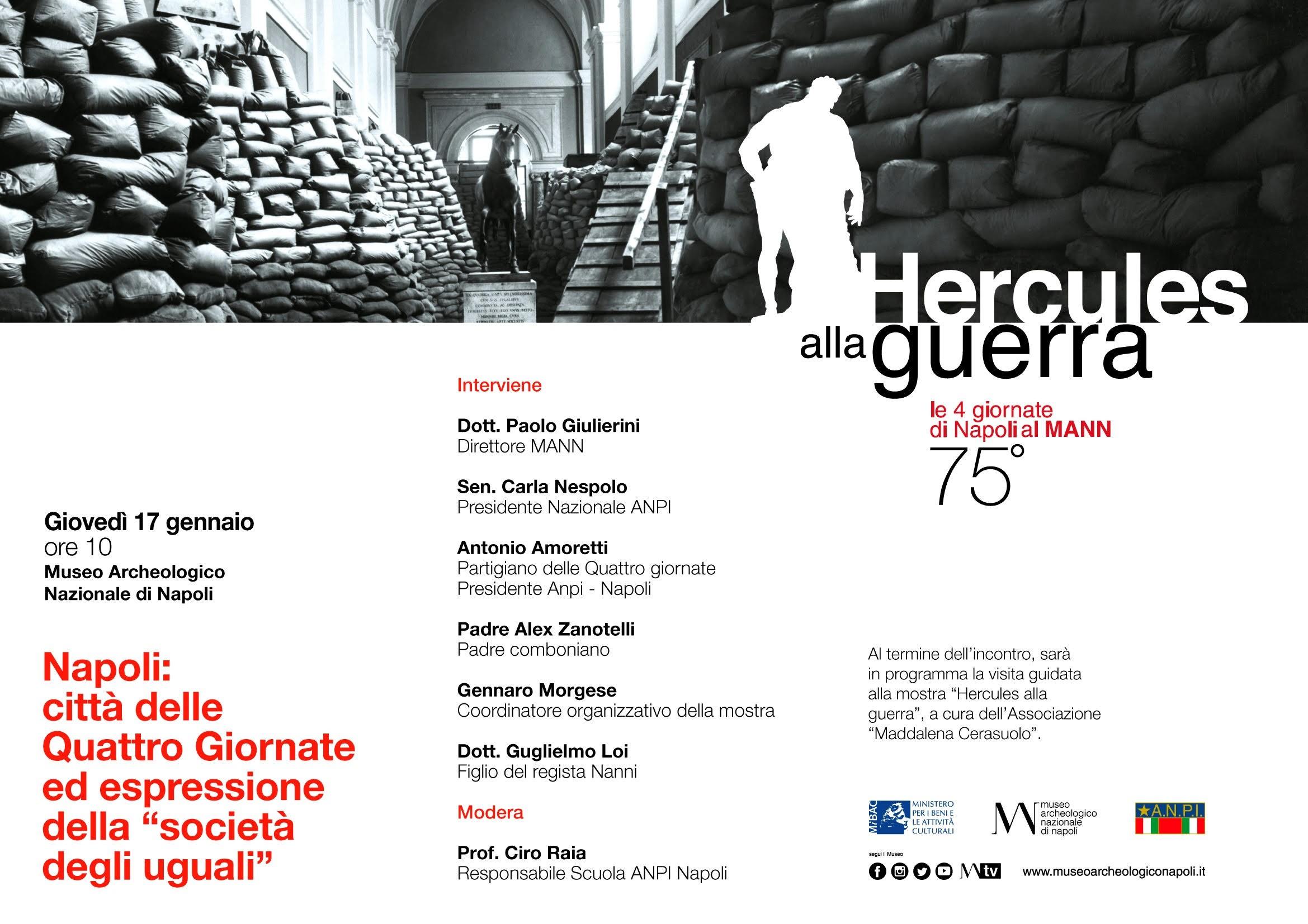 """Giovedì 17 gennaio alle 10 (sala conferenze) - """"Napoli: città delle Quattro Giornate ed espressione della società degli uguali"""""""