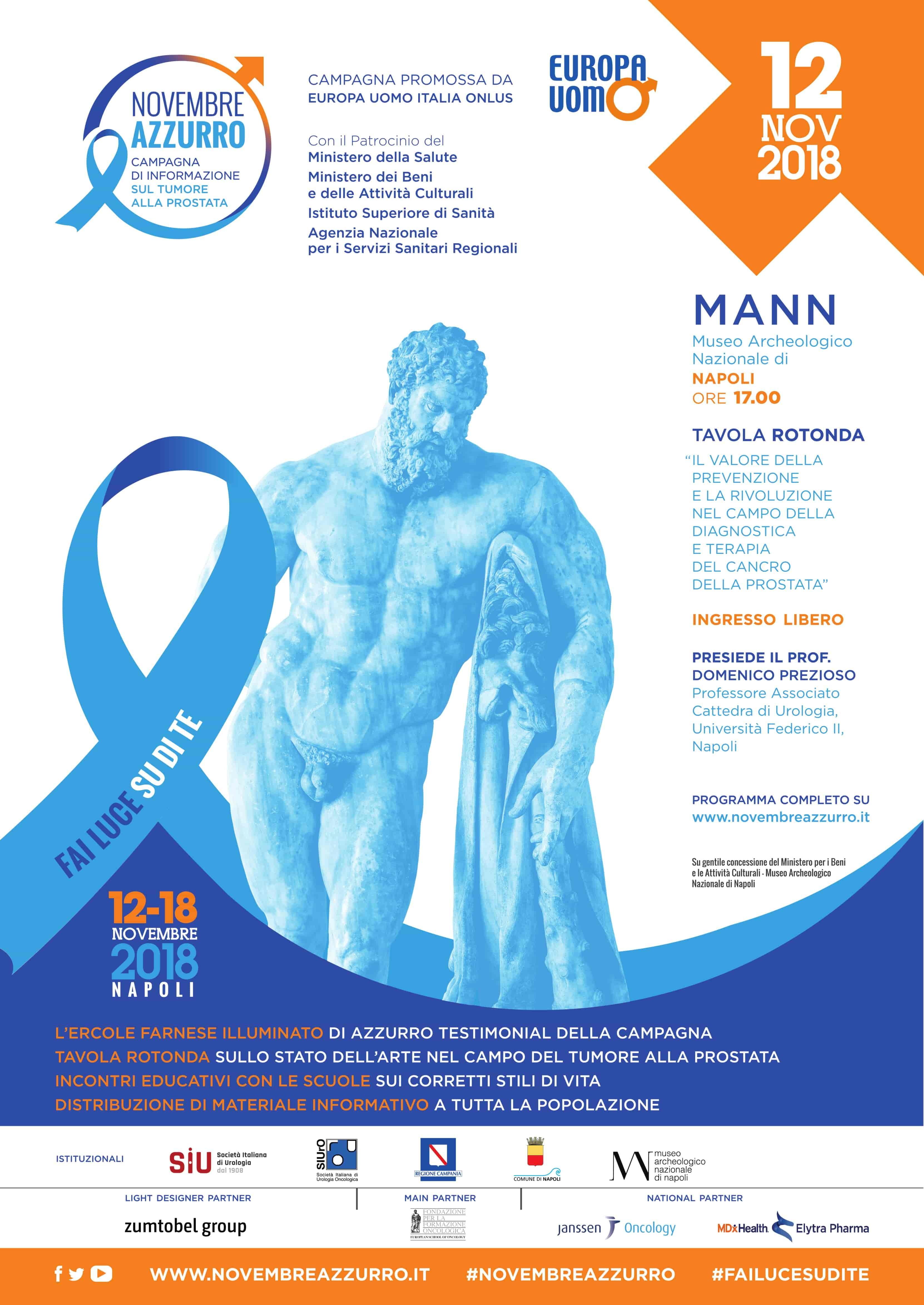 Lunedì 12 novembre – Il MANN parteciperà a novembre azzurro